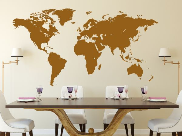 Wandtattoo Weltkarte sehr detalliert in 160cm x 85cm
