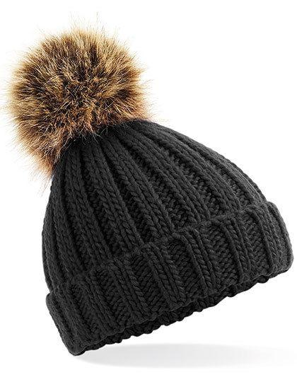 Infant Faux Fur Pom Pom Chunky Beanie - Beechfield Black