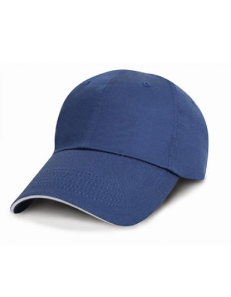 Unwashed Fine Line Cotton Cap with Sandwich Peak - Caps - 6-Panel-Caps - Result Headwear Navy - White