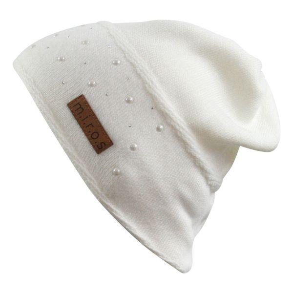 Anne Damen Wintermütze Weiss mit Perlen | handgemachte Strick Mütze