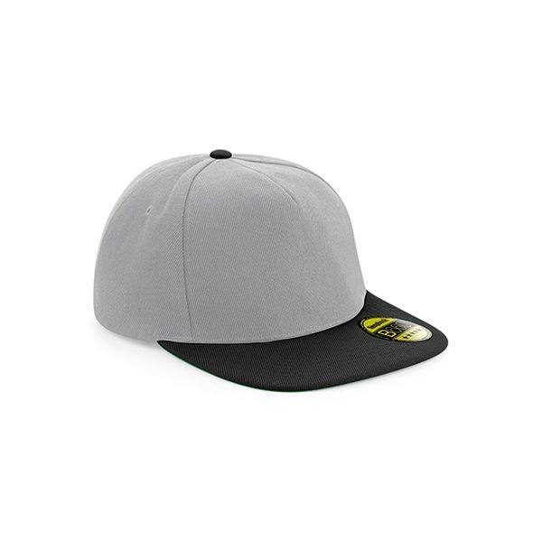Unisex 5-Panel Cap Grau Schwarz Snapback Cap Mütze