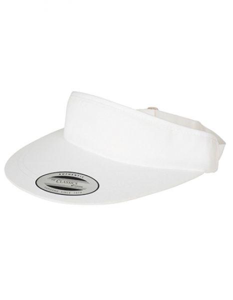Flat Round Visor Cap - FLEXFIT White