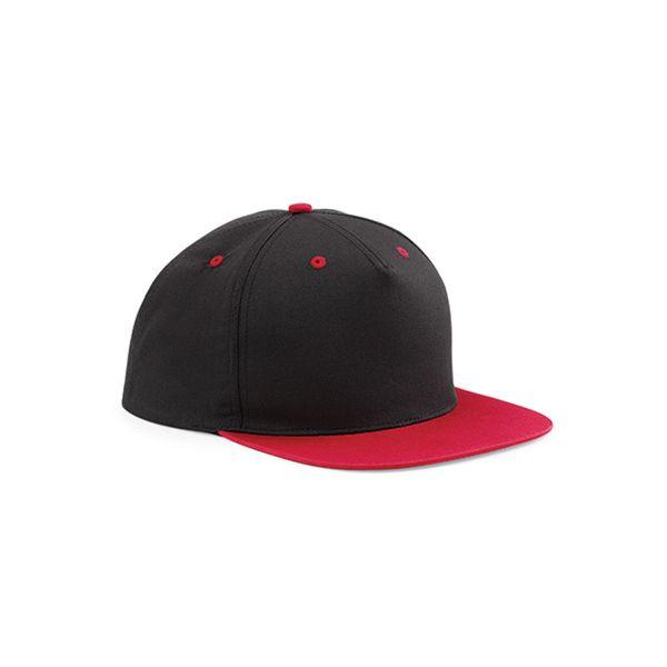 Unisex 5 Panel Cap Schwarz Rot Snapback Cap Mütze