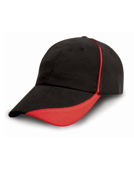 Heavy Brushed Cotton Cap with Scallop Peak and Contrast Trim - Caps - 6-Panel-Caps - Result Headwear Black - Red
