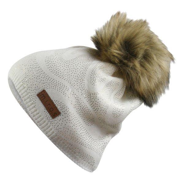 Linette Damen Wintermütze Weiss mit goldenem Druck | handgemachte Mütze
