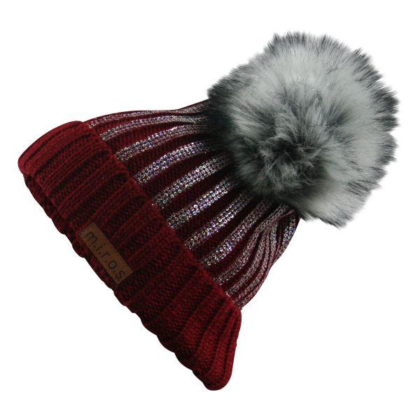 Odette Damen Wintermütze Rot mit Pailletten Print | handgemachte Bommel Mütze