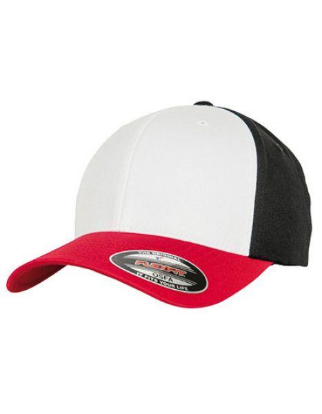 3-Tone Flexfit Cap - FLEXFIT Red - White - Black