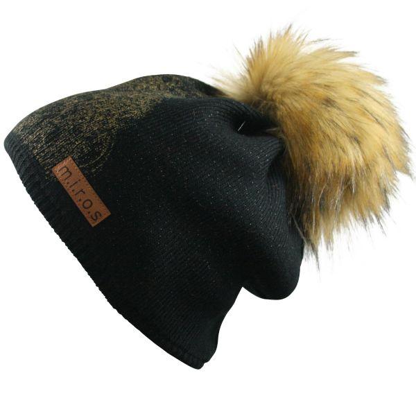 Long Beanie Mütze Moni Schwarz / handgemachte Wintermütze Pom Pom Dipdruck