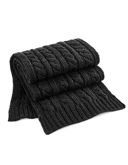 Cable Knit Melange Scarf - Beechfield Black